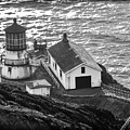 Point Reyes Lighthouse Bw by Bonnie Follett