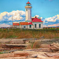 Point Wilson Lighthouse And Driftwood by Dan Sproul
