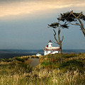 Point Wilson Lighthouse Puget Sound Watercolor by Joseph G Holland