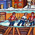 Outdoor Hockey Rink Painting  Devils Vs Rangers Sticks And Jerseys Row House In Winter C Spandau by Carole Spandau