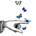 Pointing Finger With Blue Butterflies by Madame Memento