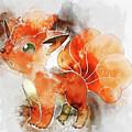 Pokemon Vulpix Abstract Portrait - By Diana Van by Diana Van