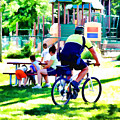 Police Officer Rides A Bicycle by Jeelan Clark