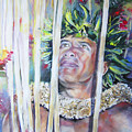 Polynesian Maori Warrior With Spears by Miki De Goodaboom