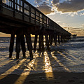 Pompano Beach Fishing Pier At Sunrise Florida Sunrays by Toby McGuire