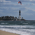 Pompano Beach Kiteboarder Hillsboro Lighthouse Catching Major Air by Toby McGuire