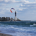 Pompano Beach Kiteboarder Hillsboro Lighthouse by Toby McGuire