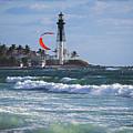 Pompano Beach Kiteboarder Hillsboro Lighthouse Waves by Toby McGuire