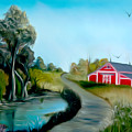 Pond By The Red Barn Dreamy Mirage by Claude Beaulac
