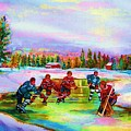 Pond Hockey Blue Skies by Carole Spandau