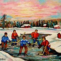 Pond Hockey Countryscene by Carole Spandau