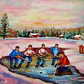 Pond Hockey Warm Day by Carole Spandau