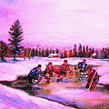 Pond Hockey Warm Skies by Carole Spandau
