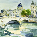 Pont De Change Watercolor Paintings Of Paris by Beverly Brown