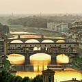 Ponte Vecchio Enlighten By The Warm Sunlight, Florence. by Antonio Gravante
