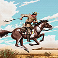 Pony Express Rider Historical Americana Painting Desert Scene by Walt Curlee