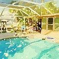 Pool And Screened Pool House by Melissa Abbott