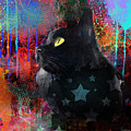 Pop Art Black Cat Painting Print by Svetlana Novikova
