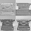 Pop Art Typewriter Collage Black And White by David Hinds