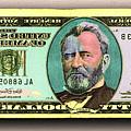 Crisp New 50 Dollar Bill Gold Green Mirror Image Pop Art  by Tony Rubino