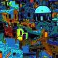 Popart Santorini by Charles  Ridgway