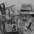 Popcorn Sutton - Black And White - Waiting On Shine by Jan Dappen