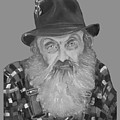Popcorn Sutton Moonshiner Bust - T-shirt Transparent B And  W by Jan Dappen
