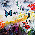 Poppies And Butterflies Whimsical French Garden by Ginette Callaway