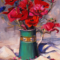 Poppies And Cornflowers In Green Jug by Sue Wales
