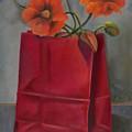 Poppies In A Red Bag by Martha Zausmer paul