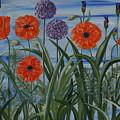 Poppies, Iris, Giant Alium by PJ Wetak