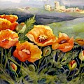 Poppies On A French Hillside by KC Winters