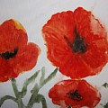 Poppies On Linen by Audrey Bunchkowski