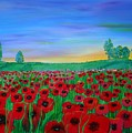 Poppy Field At Sunset by Karen Jane Jones