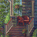 Porch With Red Wicker Chairs by Susan Savad