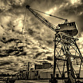 Port Crane At Sunset by Ddzphoto