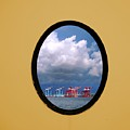 Porthole View Of Container Cranes by Yali Shi