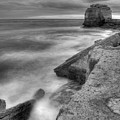 Portland Bill Seascape In Black And White by Ian Middleton