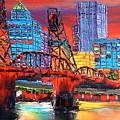 Portland City Lights Over The Hawthorne Bridge by Portland Art Creations