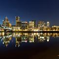 Portland City Skyline Reflection On Willamette River by Jit Lim