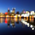 Portland Downtown Skyline Blue Hour Blurred Defocused Bokeh by Jit Lim