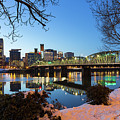 Portland Downtown Winter Night Scene by Jit Lim