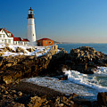 Portland Head Light - Lighthouse Seascape Landscape Rocky Coast Maine by Jon Holiday