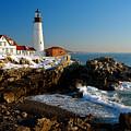 Portland Head Light - Lighthouse Seascape Landscape Rocky Coast Maine by Jon Holiday