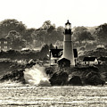 Portland Head Light At Cape Elizabeth In Black And White by Bill Swartwout Photography
