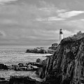 Portland Head Lighthouse - Cape Elizabeth Maine In Black And White by Bill Cannon