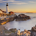Portland Head Lighthouse In Maine Usa At Sunrise by Sara Winter