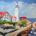 Portland Headlight By The Sea by Stella Sherman