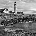 Portland Lighthouse Sunrise Bw by Susan Candelario