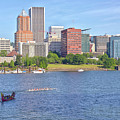 Portland Oregon Skyline And Rowing Boats. by Gino Rigucci
